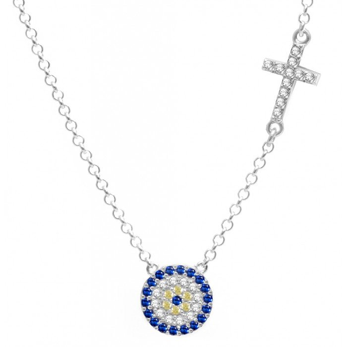 Evil Eye Charm Necklace Greek Mati Necklace For Women