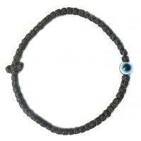 Thin Waxed Komboskini Bracelet with Evil Eye (Mati)