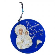 Virgin Mary (Panagia) Metallic Icon on Blue Glass