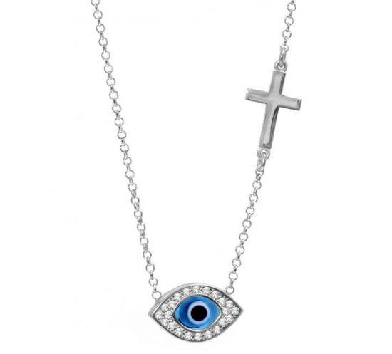Celebrity Evil Eye Mati and Cross Necklace