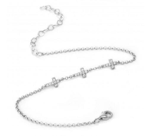 Mini Cross Charm Silver Bracelet