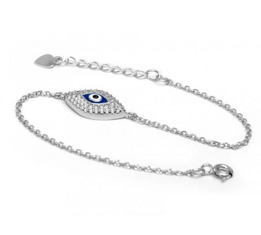 Silver Evil Eye Mati and CZ Stone Bracelet