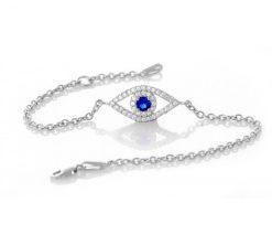 Sapphire CZ Stone Evil Eye Bracelet