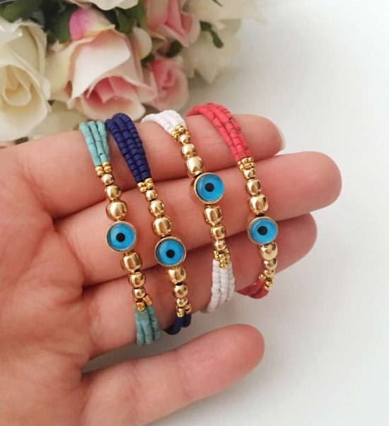 Seed bead evil eye bracelet