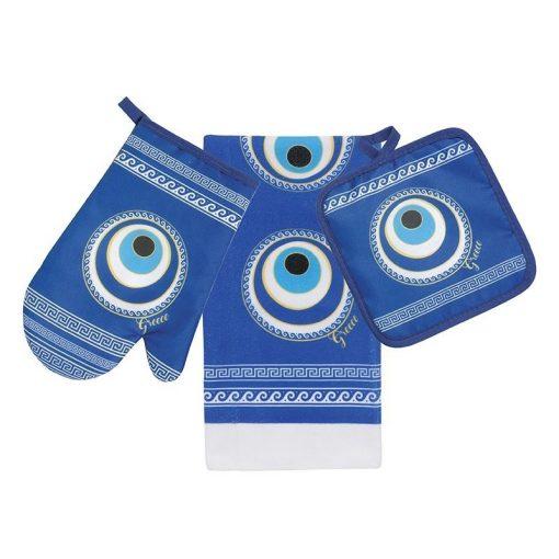 Greek Key Blue Mati Evil Eye Kitchen Set
