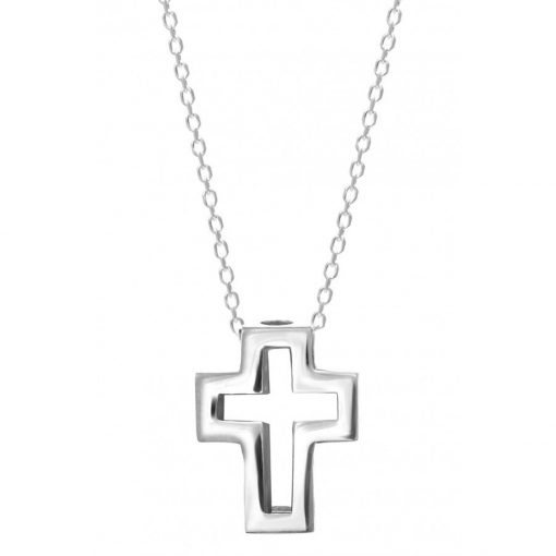 Silver cross necklace1