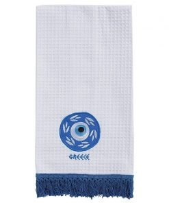 Greece Mati Embroidered Kitchen Towel with Fringe Trim