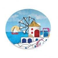 ceramic greek windmill coaster