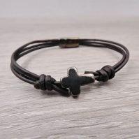 Men's Leather Cross Bracelet