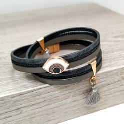 Leather Good Luck Eye Mati Bracelet with Gray Tassel