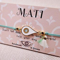 White and Gold enameled eye bracelet