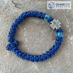 Children's Size Blue Komboskini with Metal Cross