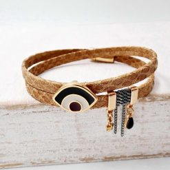 Brown Leather Mati Bracelet1