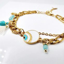 Gold Plated Enamel Mati Bracelet2
