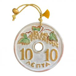 Handmade Ceramic 10 Lepta Greek Coin
