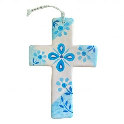 Hand Made White and Blue Pattern Ceramic Cross