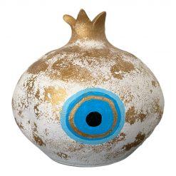Hand Crafted Ceramic White/Gold Mati Pomegranate