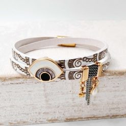 white and gold Leather Mati Bracelet1